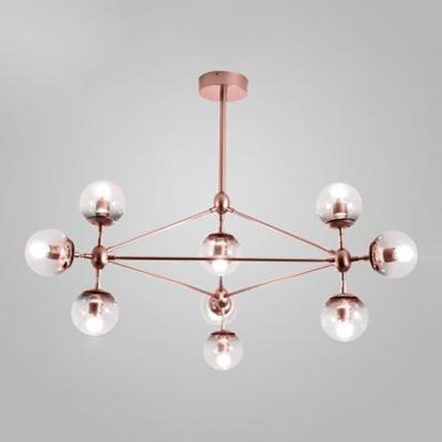 Rose Gold Finish Branching Chandelier Post Modern Metal Hanging Light