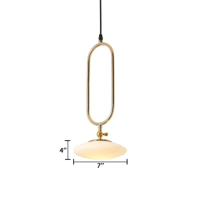 Rotatable Oval Suspended Lamp Simplicity White Glass Single Head Pendant Lamp in Brass