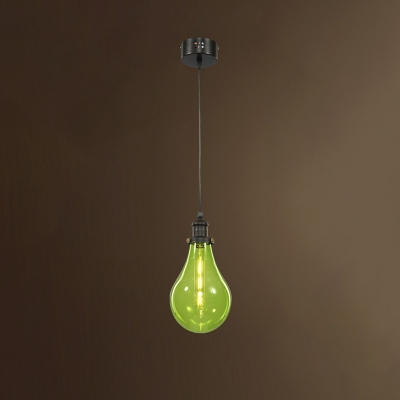 Simple Modern Bulb Shape Hanging Pendant with Colorful Glass Shade 1 Light Lighting Fixture for Kids