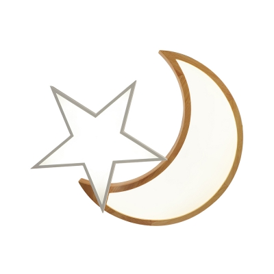Wood LED Flush Light with Moon and Star Nordic Style Gray/White Ceiling Fixture for Amusement Park