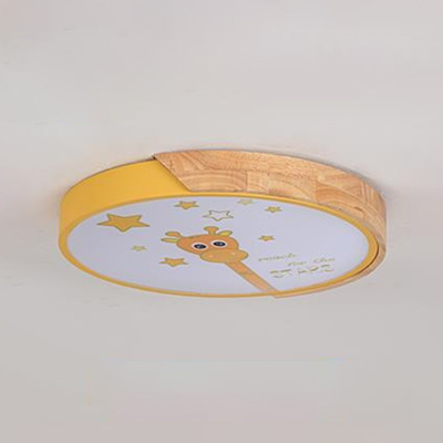 Yellow Round Ceiling Fixture with Giraffe Macaron Metal LED Flush Mount Light for Boys Girls Bedroom