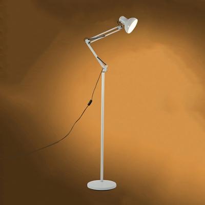 1 Head Arm Adjustable Floor Lamp Modernism Metallic Standing Light in White for Bedroom