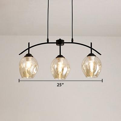 3 Light Curved Arm Hanging Light Designers Style Cognac Glass Art Deco Suspension Light