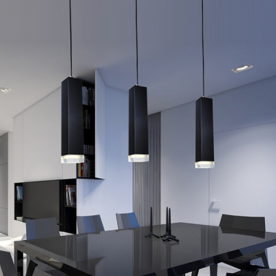 3 Light Tube Pendant Light Modern Concise Aluminum LED Suspended Lamp in Black for Bar Counter
