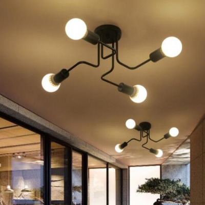 4 Light Semi Flush Ceiling Light in Wrought Iron Retro Style Black Finish Living Room Bedroom Ceiling Light