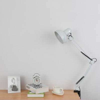 Adjustable 1 Bulb Dome Desk Lamp Modern Design Metallic Desk Lighting in White for Bedroom