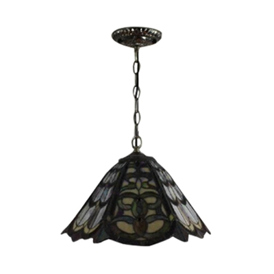 Baroque Pendant Light with 12-Inch Wide Cone Shaped Shade with Tiffany-Style Art Glass