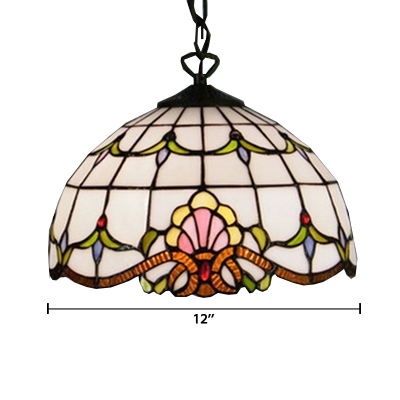 Baroque Tiffany Art Stained Glass Style Mini Pendant Light Renaissance Pattern