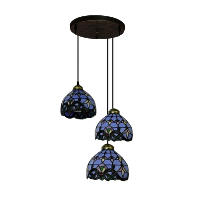 Blue Stained Glass Bronze Long Base Tiffany 3-light Hanging Pendant