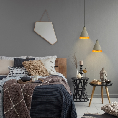 Cement Style Frosted Glass Single Light Pendant Light in Grey
