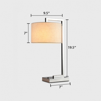 Chrome Finish Drum Desk Lamp Contemporary Beige Fabric Shade 1 Bulb Standing Desk Lamp