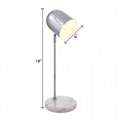 Cup Shade Table Lamp Modern Simple Metal Table Light in Polished Chrome with Marble Base