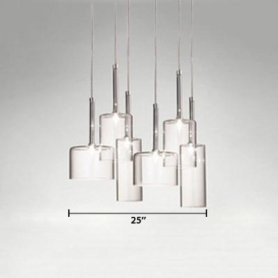 Cylinder Pendant Light Contemporary Clear Glass Multi Light Hanging Light for Restaurant