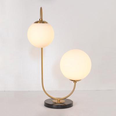 Designers Style Double Ball Table Lamp Opal Glass 2 Light Desk Light for Living Room
