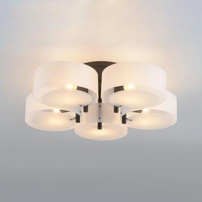 Drum Semi Flush Light Fixtures Modern Fashion Acrylic 5 Lights Semi