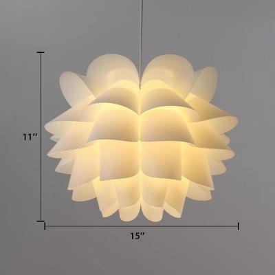 Lotus Lampshade Pendant Light Designers Style Plastic Hanging Light for Living Room