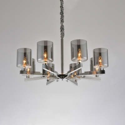 Multi Light Cylinder Chandelier Light Contemporary Smoke Glass Hanging Light for Bedroom