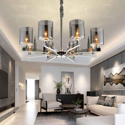 Multi Light Cylinder Chandelier Light Contemporary Smoke Glass Hanging Light for Bedroom