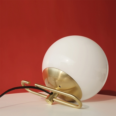 Opal Glass Globe Table Light Contemporary Wire Powered Single Head Table Lamp in Brass Finish