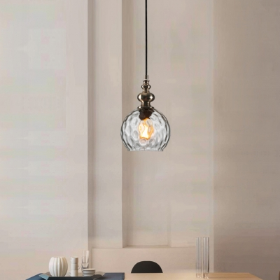 Ripple Glass Globe Suspended Light Designers Style 1 Bulb Hanging Lamp for Sitting Room