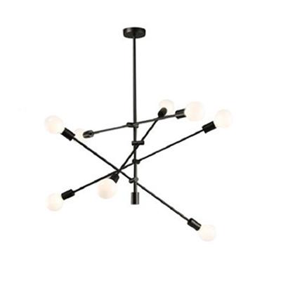 Sputnik Chandelier Lamp Post Modern Metallic 8 Lights Hanging Light in Black/Gold