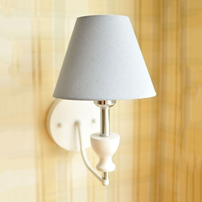 Tapered Wall Light American Retro Fabric 1 Light Sconce Light in Beige/Blue/Pink for Porch