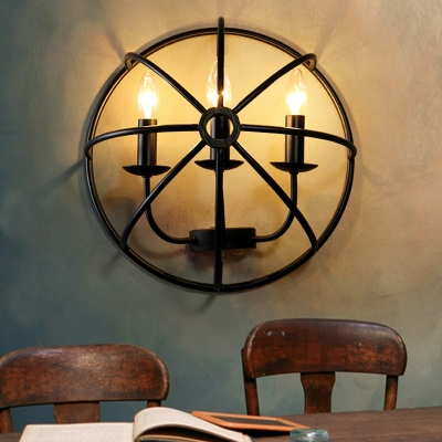 Warehouse 3-light Wrought Iron Cage Industrial LED Wall Lamp