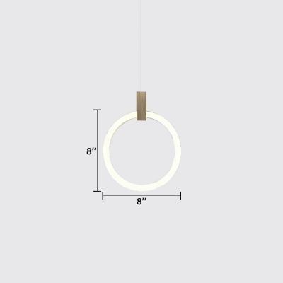 Wood Finish Halo LED Pendant Lights Nordic Style Acrylic 1 Light Hanging Lamp for Bedside Cafe Restaurant