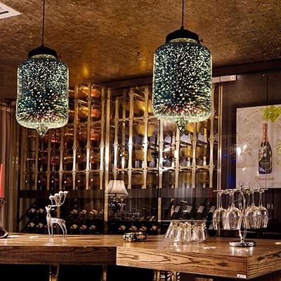 1 Bulb Jar Pendant Lighting Modern Design 3D Colored Glass Hanging Light in Black for Bar Counter