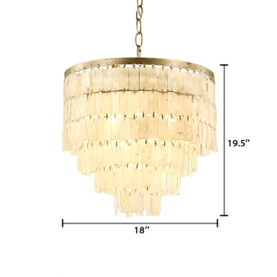 1 Light Fountain Style Hanging Lamp with Shelly Shade Modern Ceiling Pendant Light for Sitting Room