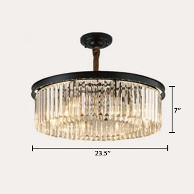 2 Tiers Circular Chandelier with Crystal Decoration Contemporary 4/8/12/16 Lights Hanging Lamp in Black