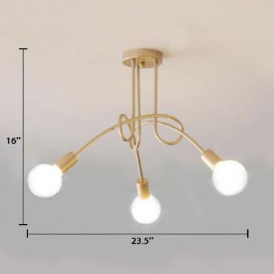 3 Lights/5 Lights Twisted Indoor Lighting Modern Chic Metal Semi Flush Light Fixture in Soft Gold for Restaurant