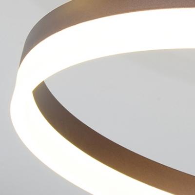 Coffee-cream Halo Ring LED Flush Light Fixture Minimalist Metallic Flushmount for Living Room