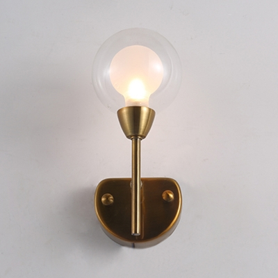 Brass Finish Torch LED Wall Light with Sphere Glass Shade Vintage 1 Light Art Deco Sconce Light