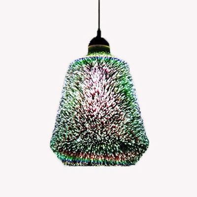 Bucket Shape Ceiling Pendant Light with 3D Stained Glass Modern 1 Head Suspended Light in Black