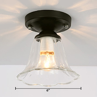 Clear Glass Bell Semi Flushmount with Scalloped Edge Industrial 1 Head Surface Mount Ceiling Light in Black