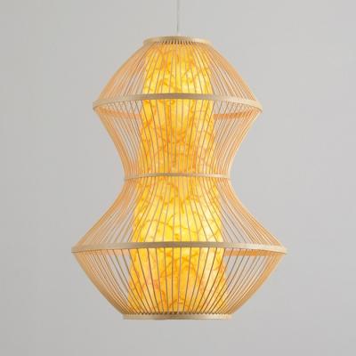 Cone Suspension with Geometric Rattan Shade Modernism Single Head Indoor Lighting Fixture in Wood