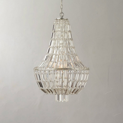 Crystal Empire Chandelier Luxury Vintage 3 Lights Decorative Suspended Light in Silver
