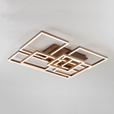 Geometric Pattern LED Flushmount with Acrylic Shade Modernism Decorative Ceiling Lamp in Brown