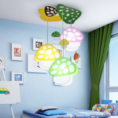 Lovely Colorful Mushroom Hanging Light Kindergarten Wooden 3 Lights Suspended Light