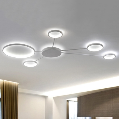 Metal Sputnik Flush Light Fixture Minimalist Decorative Led Ceiling Lamp In White With Circle Beautifulhalo Com
