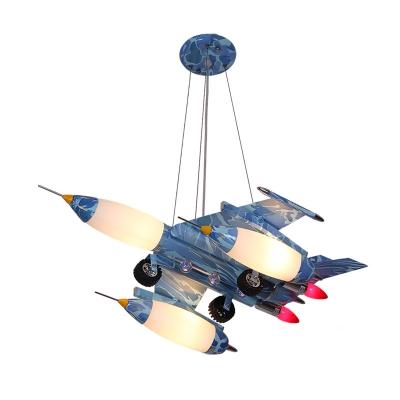 Metallic Chandelier with Blue Aircraft Triple Lights Suspended Light for Kindergarten