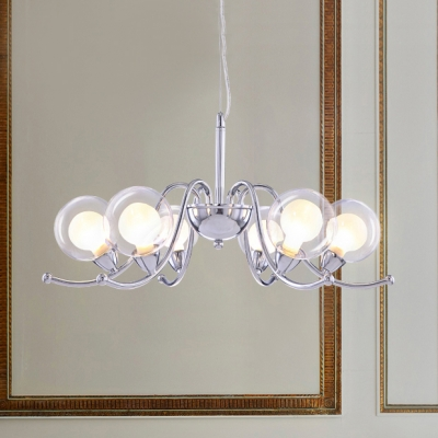 Modern Fashion Sphere Lamp Light with Curved Arm Clear Glass 6 Bulbs Chandelier Lighting in Chrome