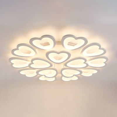 Multi Lights 2 Tiers Lighting Fixture with Loving Heart Nordic Style Acrylic LED Semi Flush Light in White