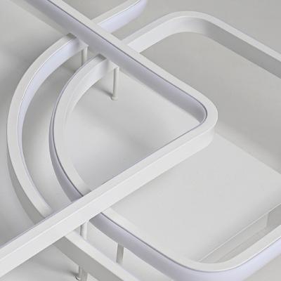 Nordic Modern Geometric Semi Flush Mount Aluminum Decorative LED Ceiling Lamp in Warm/White