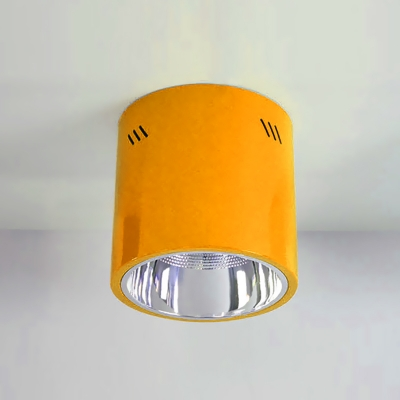 Red/Yellow Cylinder Down Light Metal LED Ceiling Flush Mount for Kindergarten Amusement Park