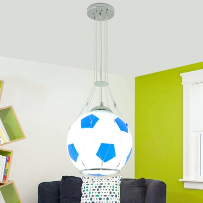 Single Light Football Pendant Lamp Boys Room Glass Shade Hanging Light in Blue/Red