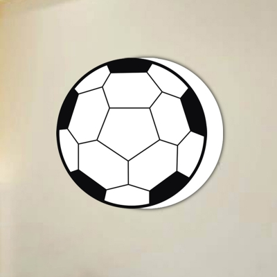 Single Light Football Sconce Light Amusement Park Metal Wall Mount Fixture in Black and White