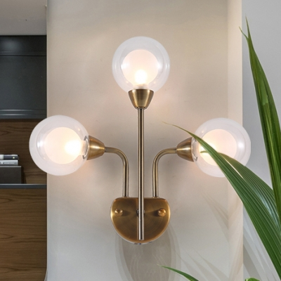 Triple Lights Mini Globe Wall Mount Light Nordic Style Clear Glass LED Wall Lamp in Brass for Foyer