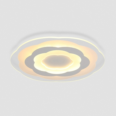 White Floral LED Lighting Fixture Modern Fashion Ultrathin Acrylic Ceiling Lamp for Bedroom